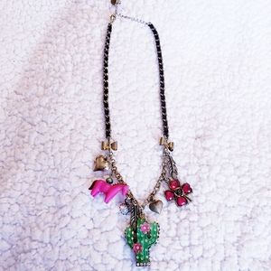 Betsey Johnson Quirky Cactus Charm Necklace.